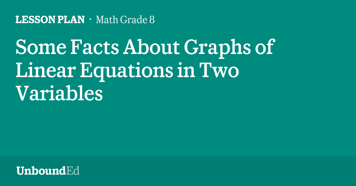 MATH G8: Some Facts About Graphs of Linear Equations in Two