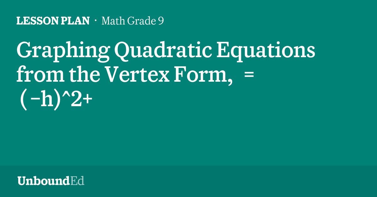 Math G9 Graphing Quadratic Equations From The Vertex Form