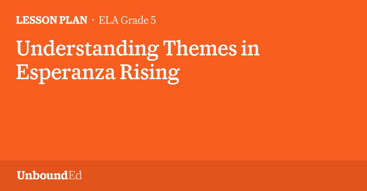 Ela G5 Understanding Themes In Esperanza Rising